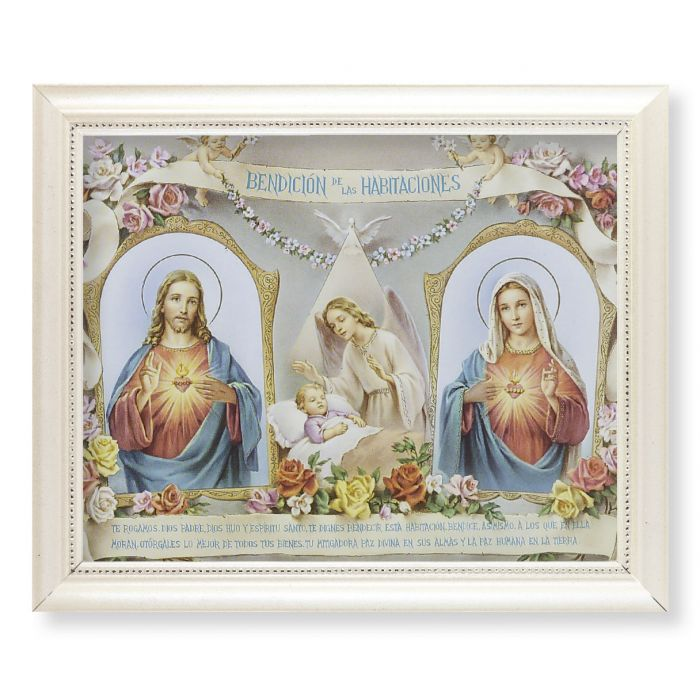 Baby Room Blessing Print (Spanish) Print In a Pearlized White Frame