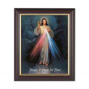 Divine Mercy 10x8 inch Print In a Dark Walnut Frame