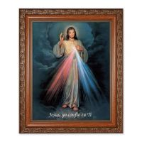 Divine Mercy (Spanish) 10x8 inch Print In a Mahogany Finished Frame