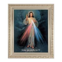 Divine Mercy(Spanish) 10x8 inch Print In a Antique Silver Frame
