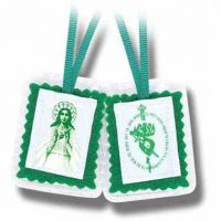 """2"""" Green Laminated Scapular with Instruction Pamphle (12 Pack)"""