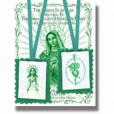 """2"""" Green Scapular with Instruction Pamphlet (24 Pack) - 846218030992 - 1504"""