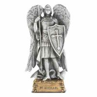 4 1/2 inch Saint Michael Pewter Statue On Base
