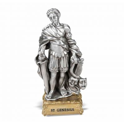 """4"""" St. Genesius Pewter Statue Gift Boxed -  - 1799-447"""
