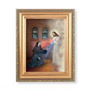 Saint Faustina w/Divine Mercy Print w/ Gold Frame (2 Pack)
