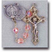 7mm Pink Rosary with Mysteries Center