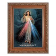 Spanish-divine Mercy In An Ornate Mahogany Frame w/Beaded Lip 2Pk