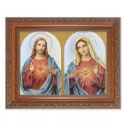 The Sacred Hearts In An Ornate MahoganyFrame w/Beaded Lip 2Pack
