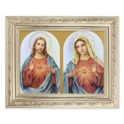 The Sacred Hearts - Detailed Scroll Carvings Silver Frame - 2-Pk