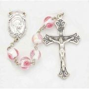 8mm Pink Venetian Glass Encased Rose Bead Rosary
