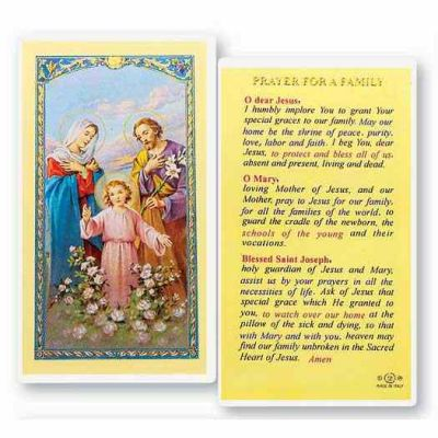 Prayer For A Family 2 x 4 inch Holy Card (50 Pack) - 846218015401 - E24-746