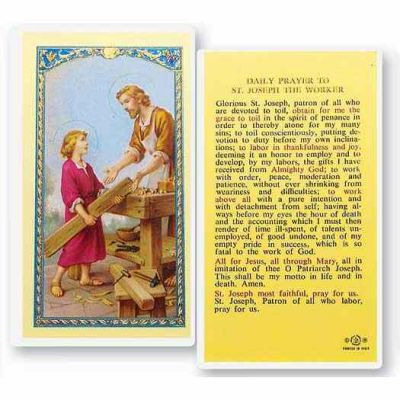 Saint Joseph - Patron Of Workers 2 x 4 inch Holy Card (50 Pack) - 846218013018 - E24-628