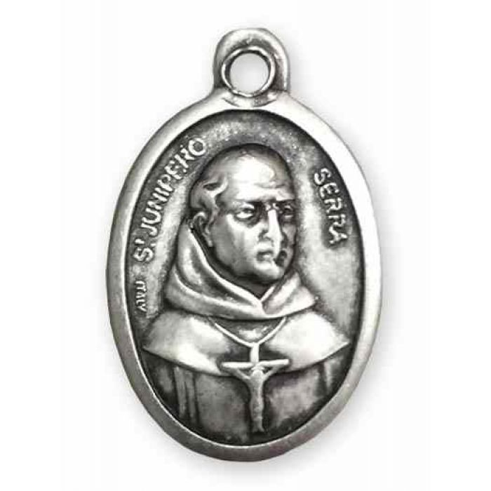 Necklaces Saint Junipero Serra Antique Silver Zinc Medal
