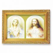 The Sacred Hearts Lithograph w/Antique Gold Frame (2 Pack)