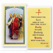 What The Lord Asks -Micah 6:8 2 x 4 inch Holy Card (50 Pack)