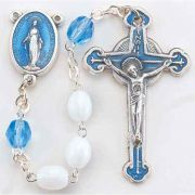 White Glass Oval Bead With Blue Crystal Our Father Bead Rosary